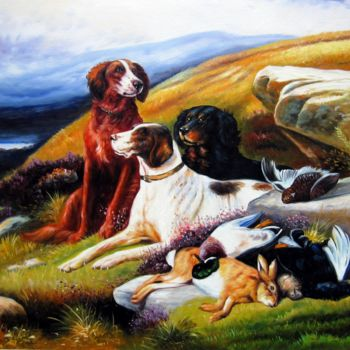 """Painting titled """"Hunting dogs #002"""" by James Shang, Original Art, Oil Mounted on Stretcher frame"""