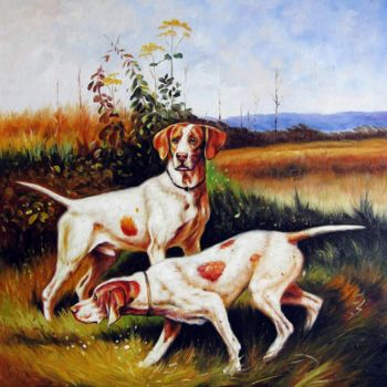 """Painting titled """"Hunting dogs #003"""" by James Shang, Original Art, Oil Mounted on Stretcher frame"""