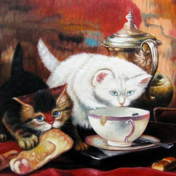 """Painting titled """"Cat 001"""" by James Shang, Original Art, Oil Mounted on Stretcher frame"""