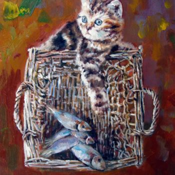 """Painting titled """"Cat and fish 001"""" by James Shang, Original Art, Oil Mounted on Stretcher frame"""
