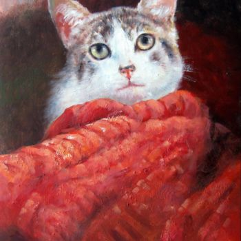 """Painting titled """"Cat 101"""" by James Shang, Original Art, Oil Mounted on Stretcher frame"""