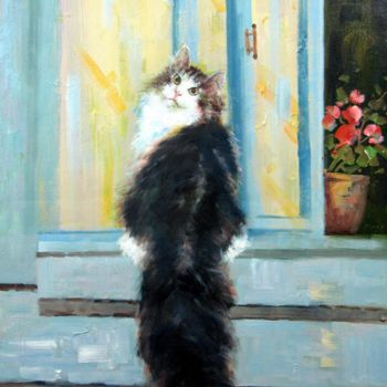 """Painting titled """"Cat 102DH"""" by James Shang, Original Art, Oil Mounted on Stretcher frame"""