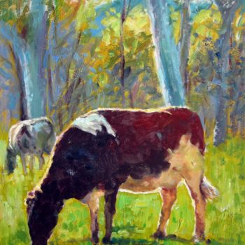 """Painting titled """"Cow #601"""" by James Shang, Original Art, Oil Mounted on Stretcher frame"""
