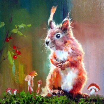 """Painting titled """"Squirrel 001"""" by James Shang, Original Art, Oil Mounted on Stretcher frame"""