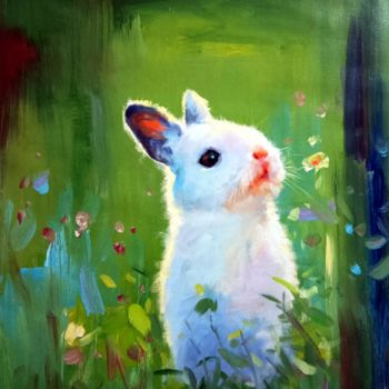 """Painting titled """"Rabbit #201"""" by James Shang, Original Art, Oil Mounted on Stretcher frame"""