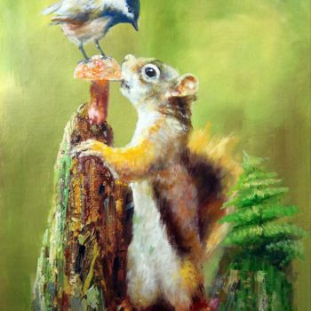 """Painting titled """"Squirrel 002"""" by James Shang, Original Art, Oil Mounted on Stretcher frame"""