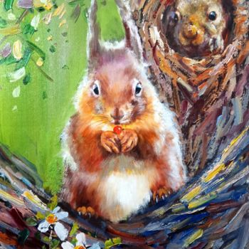 """Painting titled """"Squirrel 101"""" by James Shang, Original Art, Oil Mounted on Stretcher frame"""