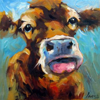"""Painting titled """"Cow #108"""" by James Shang, Original Art, Oil Mounted on Stretcher frame"""