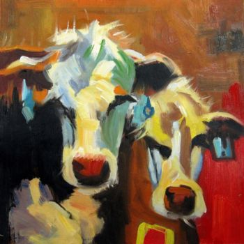 """Painting titled """"Cow #110"""" by James Shang, Original Art, Oil Mounted on Stretcher frame"""