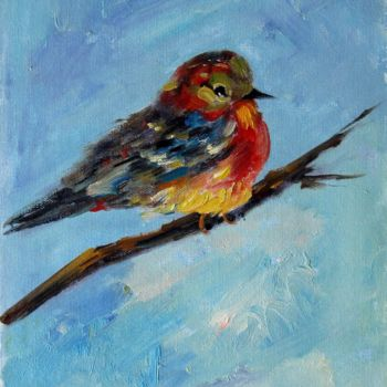 """Painting titled """"Sparrow #010"""" by James Shang, Original Art, Oil Mounted on Stretcher frame"""