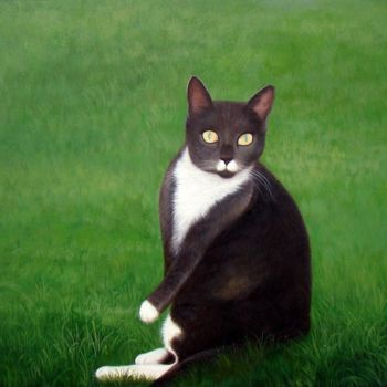 """Painting titled """"Portrait pet cat 003"""" by James Shang, Original Art, Oil Mounted on Stretcher frame"""