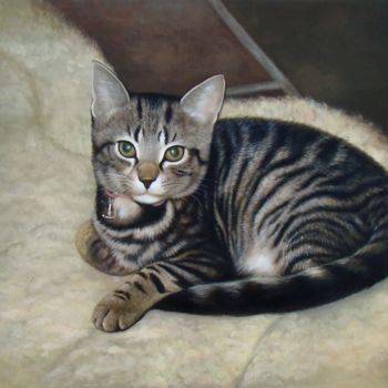 """Painting titled """"Portrait pet cat 004"""" by James Shang, Original Art, Oil Mounted on Stretcher frame"""