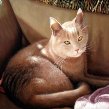 """Painting titled """"Portrait pet cat 006"""" by James Shang, Original Art, Oil Mounted on Stretcher frame"""