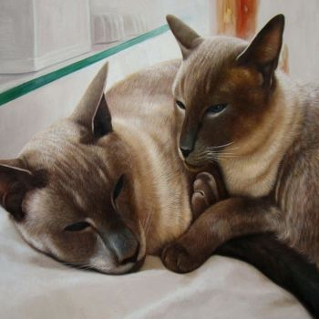 """Painting titled """"Portrait pet cat 010"""" by James Shang, Original Art, Oil Mounted on Stretcher frame"""