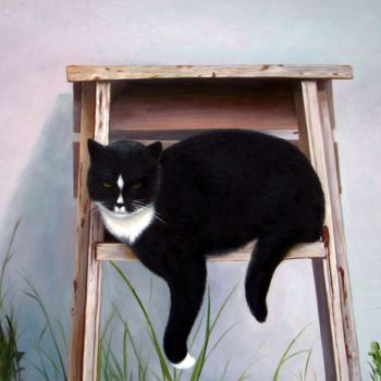 """Painting titled """"Portrait pet cat 011"""" by James Shang, Original Art, Oil Mounted on Stretcher frame"""