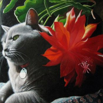 """Painting titled """"Portrait pet cat 012"""" by James Shang, Original Art, Oil Mounted on Stretcher frame"""