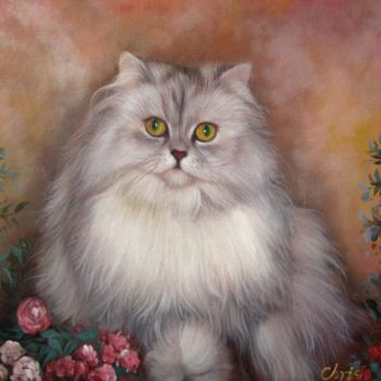 """Painting titled """"Portrait pet cat 014"""" by James Shang, Original Art, Oil Mounted on Stretcher frame"""