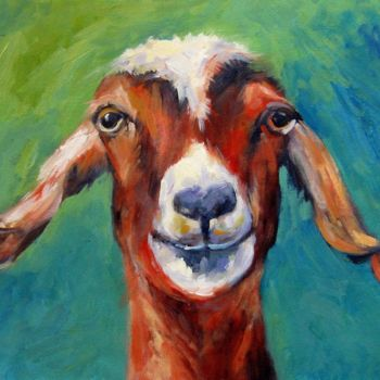 """Painting titled """"Goat 201"""" by James Shang, Original Art, Oil"""