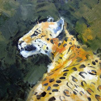 """Painting titled """"Leopard 001"""" by James Shang, Original Art, Oil Mounted on Cardboard"""