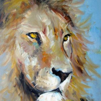 """Painting titled """"Lion 001"""" by James Shang, Original Art, Oil Mounted on Cardboard"""