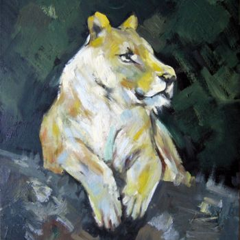 """Painting titled """"Lion 002"""" by James Shang, Original Art, Oil Mounted on Cardboard"""