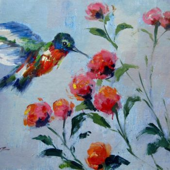 """Painting titled """"Hummingbird 402"""" by James Shang, Original Art, Oil Mounted on Stretcher frame"""