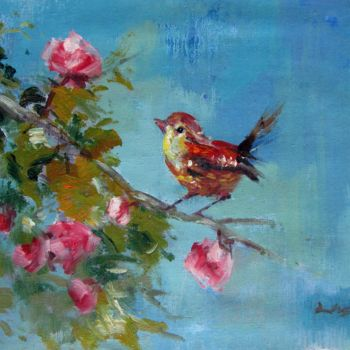 """Painting titled """"Sparrow 402"""" by James Shang, Original Art, Oil Mounted on Stretcher frame"""