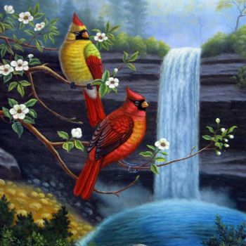 """Painting titled """"Bird 008"""" by James Shang, Original Art, Oil Mounted on Stretcher frame"""