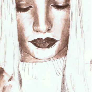 """Drawing titled """"I'm in peace now"""" by Askew Mind, Original Art, Charcoal"""