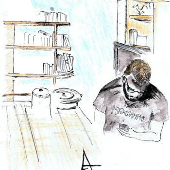 """Drawing titled """"Waiting for a good…"""" by Askew Mind, Original Art, Pencil"""