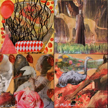 Collages, paper cutting, conceptual art, artwork by Nath Chipilova (Atelier NN art store)