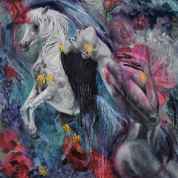 Feminine Painting, oil, abstract, artwork by Audrey Delaye