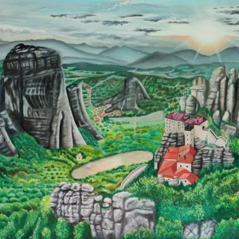 """Painting titled """"Meteora, Geological…"""" by Ausra Manamangas, Original Art, Oil Mounted on Stretcher frame"""