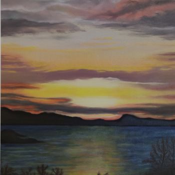 """Painting titled """"Golden Sunset in At…"""" by Ausra Manamangas, Original Art, Oil Mounted on Stretcher frame"""