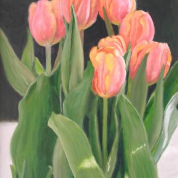 """Painting titled """"Tulipanes"""" by Azucena, Original Art, Oil"""