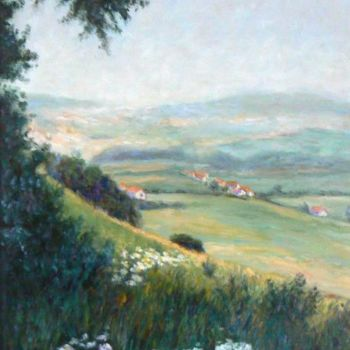 """Painting titled """"Douce campagne"""" by Azucena, Original Art, Oil"""
