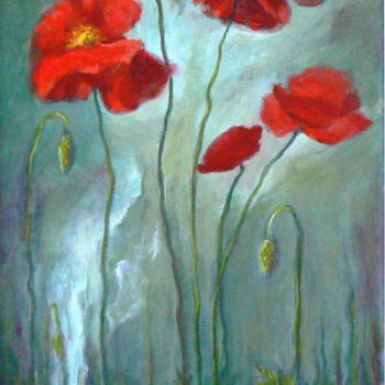 """Painting titled """"Amapolas"""" by Azucena, Original Art, Oil"""