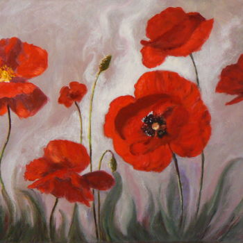 """Painting titled """"Coquelicots dans l'…"""" by Azucena, Original Art, Oil"""