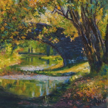 """Painting titled """"Pont caché II- Hidd…"""" by Azucena, Original Art, Oil"""