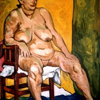 """Painting titled """"Old Lady Sitter"""" by Barrie Walker, Original Art, Oil"""