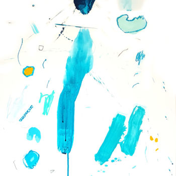 """Painting titled """"Teal Study V - Pain…"""" by Bea Mahan, Original Art, Ink"""