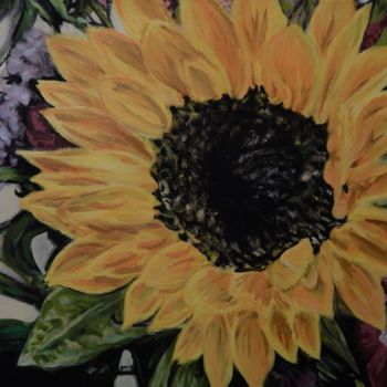 """Painting titled """"Big Yellow Flower"""" by Becky Arner, Original Art, Acrylic"""