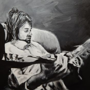 """Painting titled """"Kurt on a Couch"""" by Becky Arner, Original Art, Acrylic"""
