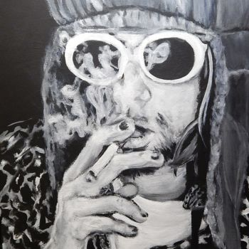 """Painting titled """"Kurt Cobain in chee…"""" by Becky Arner, Original Art, Acrylic"""