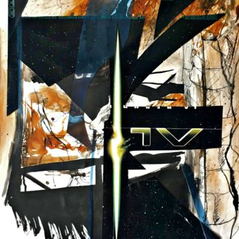 Collages, ink, abstract, artwork by Bertrand Tardieu