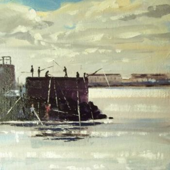 """Painting titled """"West Pier Fishing"""" by Bill O'Brien, Original Art, Oil"""