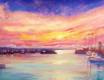 """Painting titled """"Howth Harbour Panor…"""" by Bill O'Brien, Original Art, Oil"""