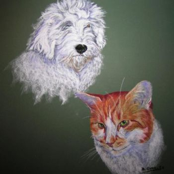 """Painting titled """"DIEGO et FRIPOUILLE…"""" by Brigitte Charles, Original Art,"""