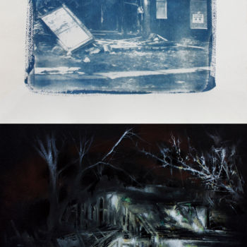 """Drawing titled """"Abandoned house XV"""" by Carlos Asensio, Original Art, Pastel Mounted on Wood Panel"""