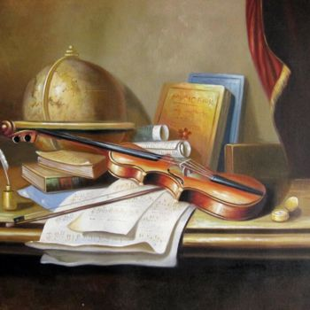 """Painting titled """"Violin #001A"""" by Lermay Chiang, Original Art, Oil Mounted on Stretcher frame"""